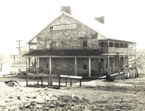 Here is another older photo of the Jean Bonnet Tavern.  The car in front of the tavern dates the picture in the 1910s.  This is right around when the Lincoln Highway was constructed.  Courtesy of the Jean Bonnet Tavern website.