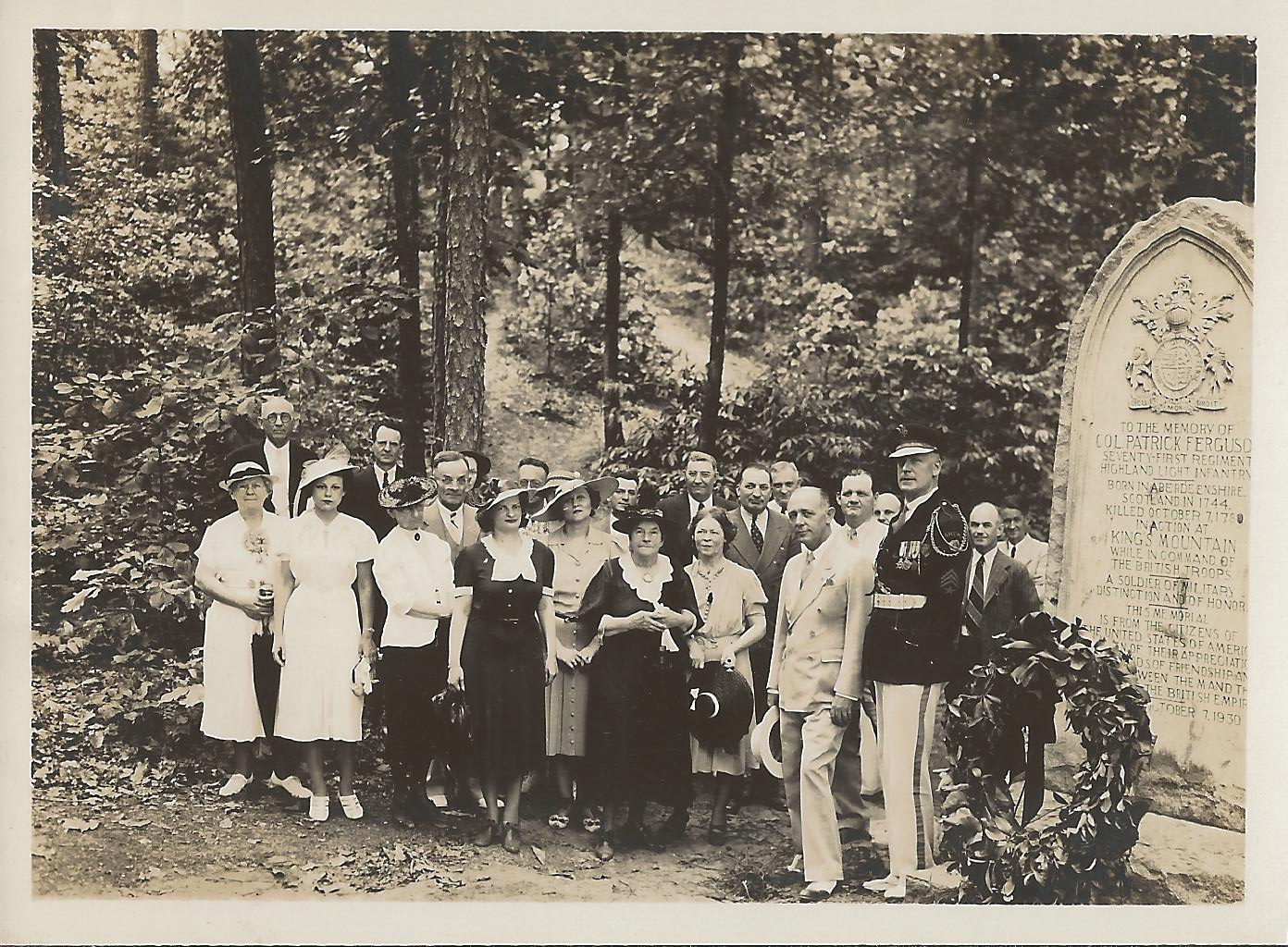 The Daughters of the American Revolution with the Ferguson Monument on Memorial Day, 1939.  Photo Courtesy of Kings Mountain National Military Park
