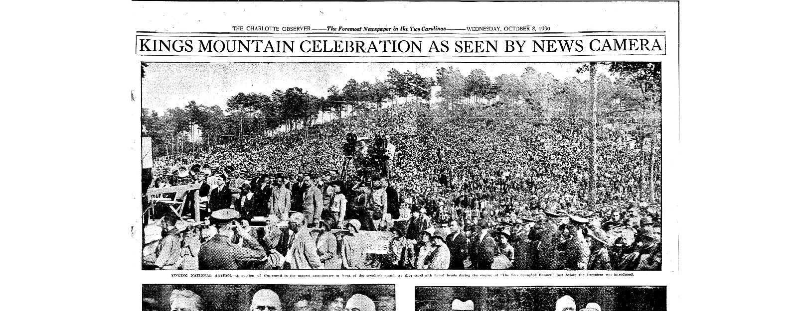 Picture from the celebration in the Charlotte Observer on October 8, 1930.
