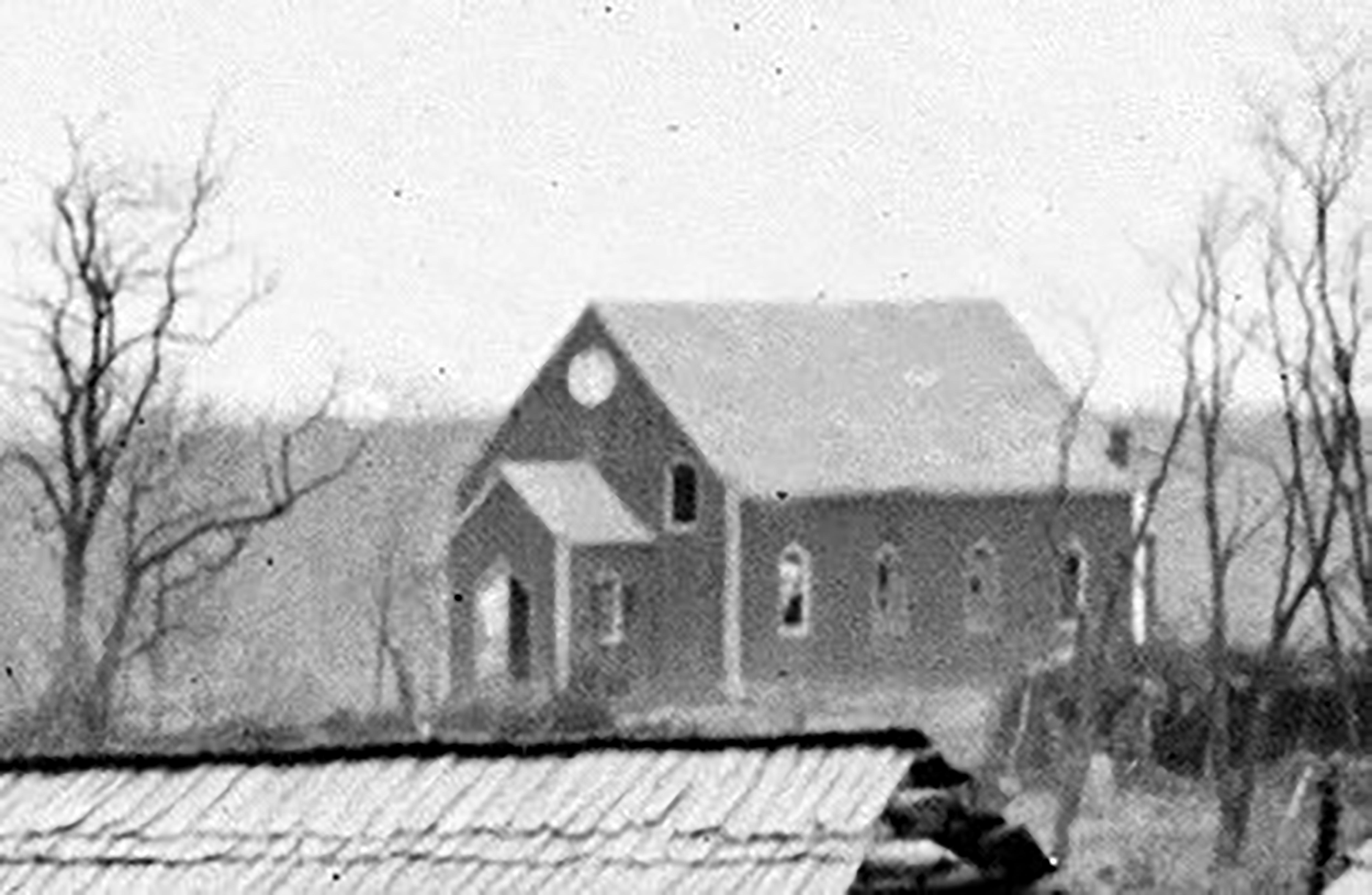 Original Saint John's Church, 1862. Note the broken windows.