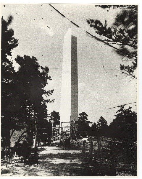 Picture of the U.S. Monument under construction.  Notice the plaques are not yet on the monument.  They were not placed on the monument until January of 1910
