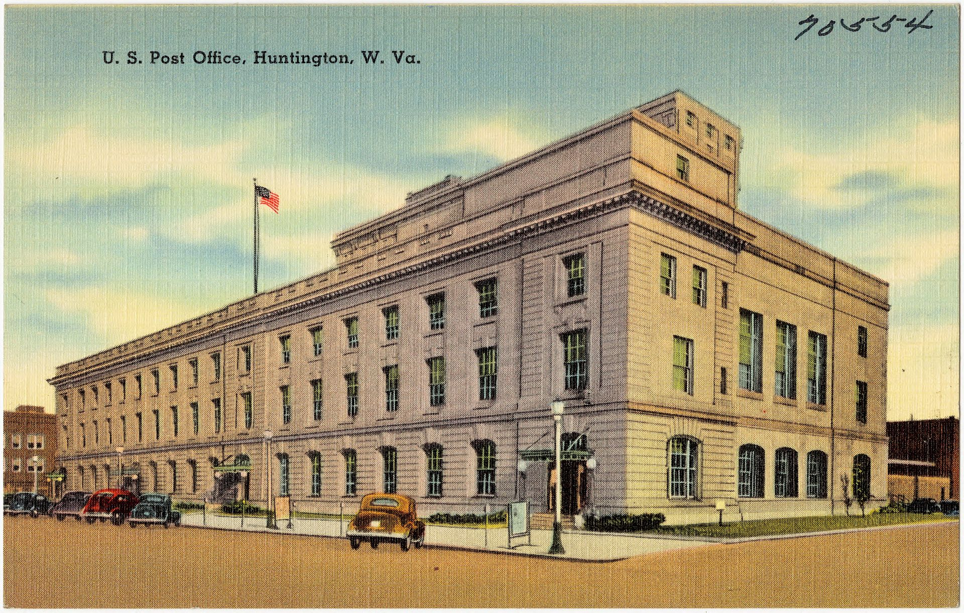 Historic postcard showing the building