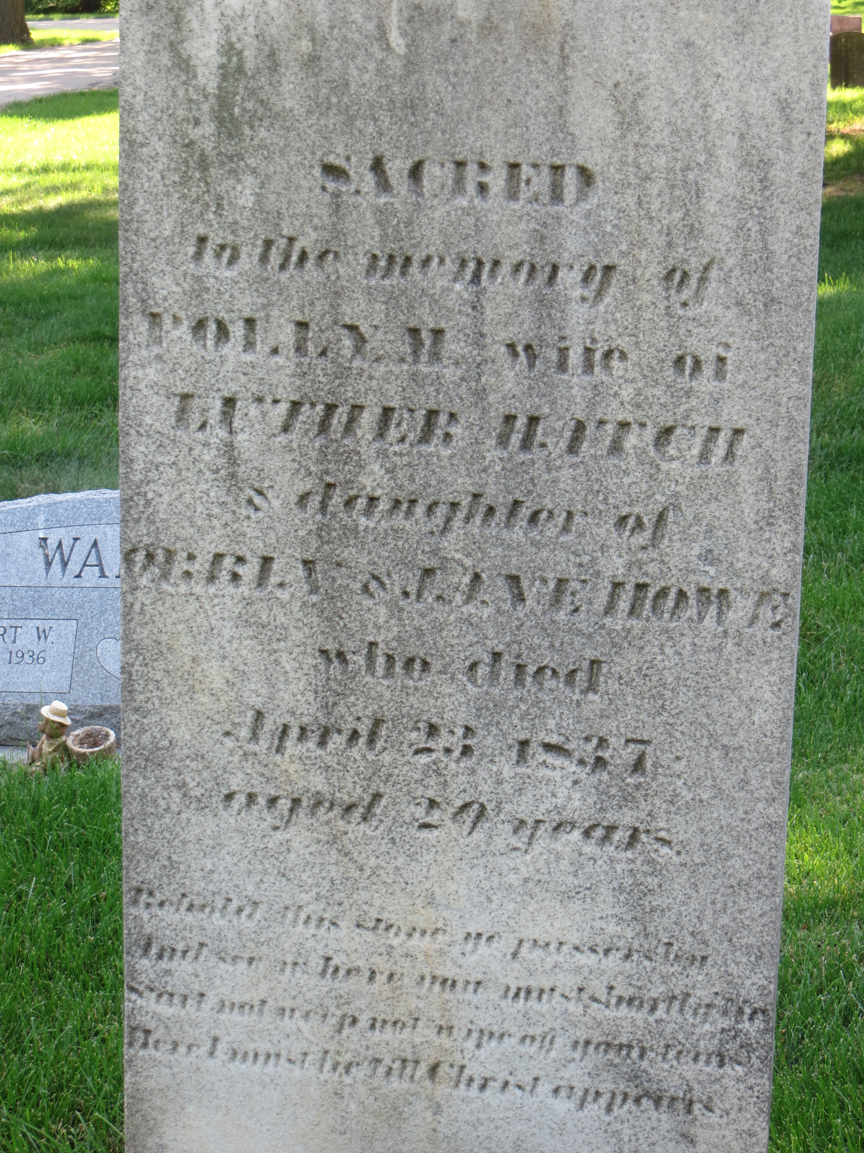 Gravestone of Polly Hatch, Luther Hatch's wife