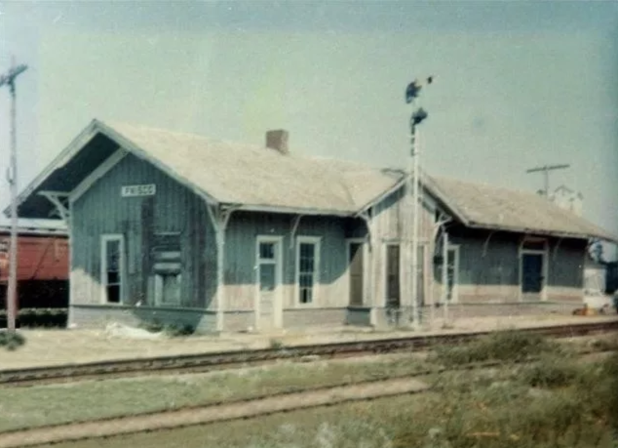 This is the original Frisco Train Depot located west of the train tracks.
