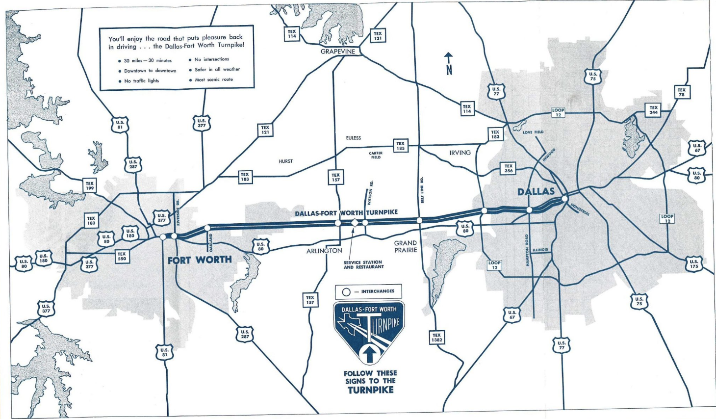This map includes the DFW Turnpike as well as shows other highway systems and how they all connect.