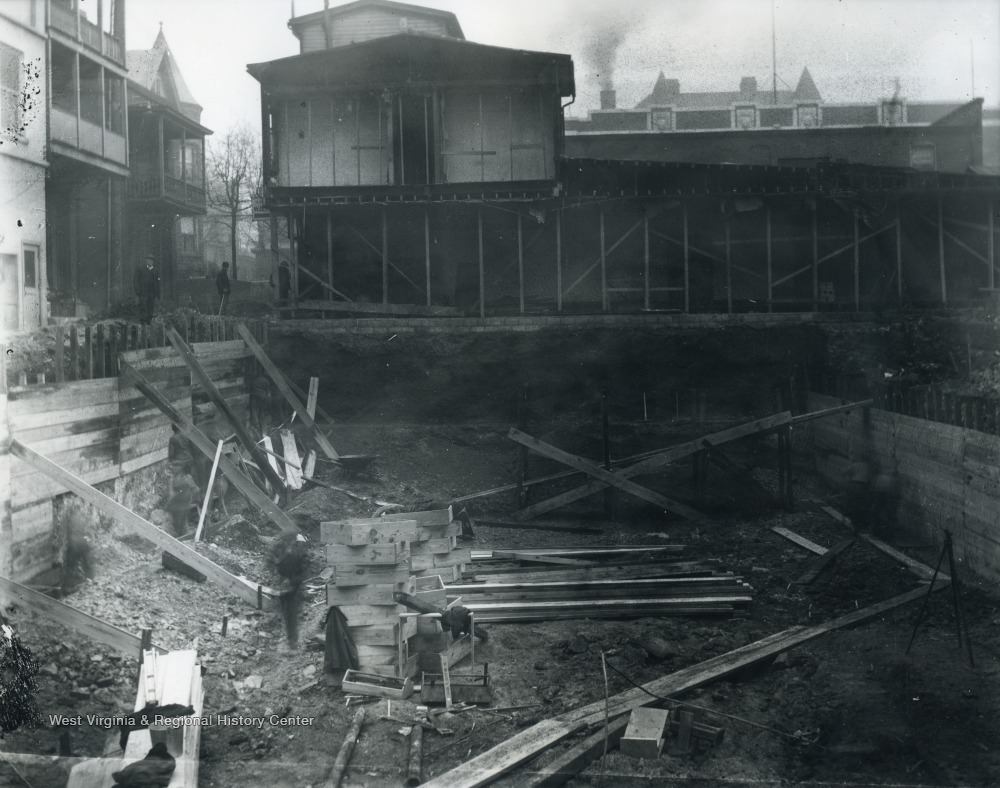 Undated photo of excavation at the former site of the Wallace House.