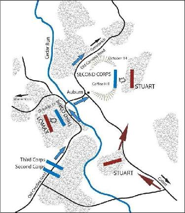 Map showing the locations of the soldiers during the battles.