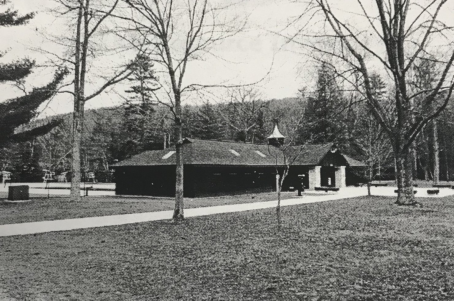 This is an old photo of a visitor's center in Caledonia State Park (Lincoln Highway Experience).