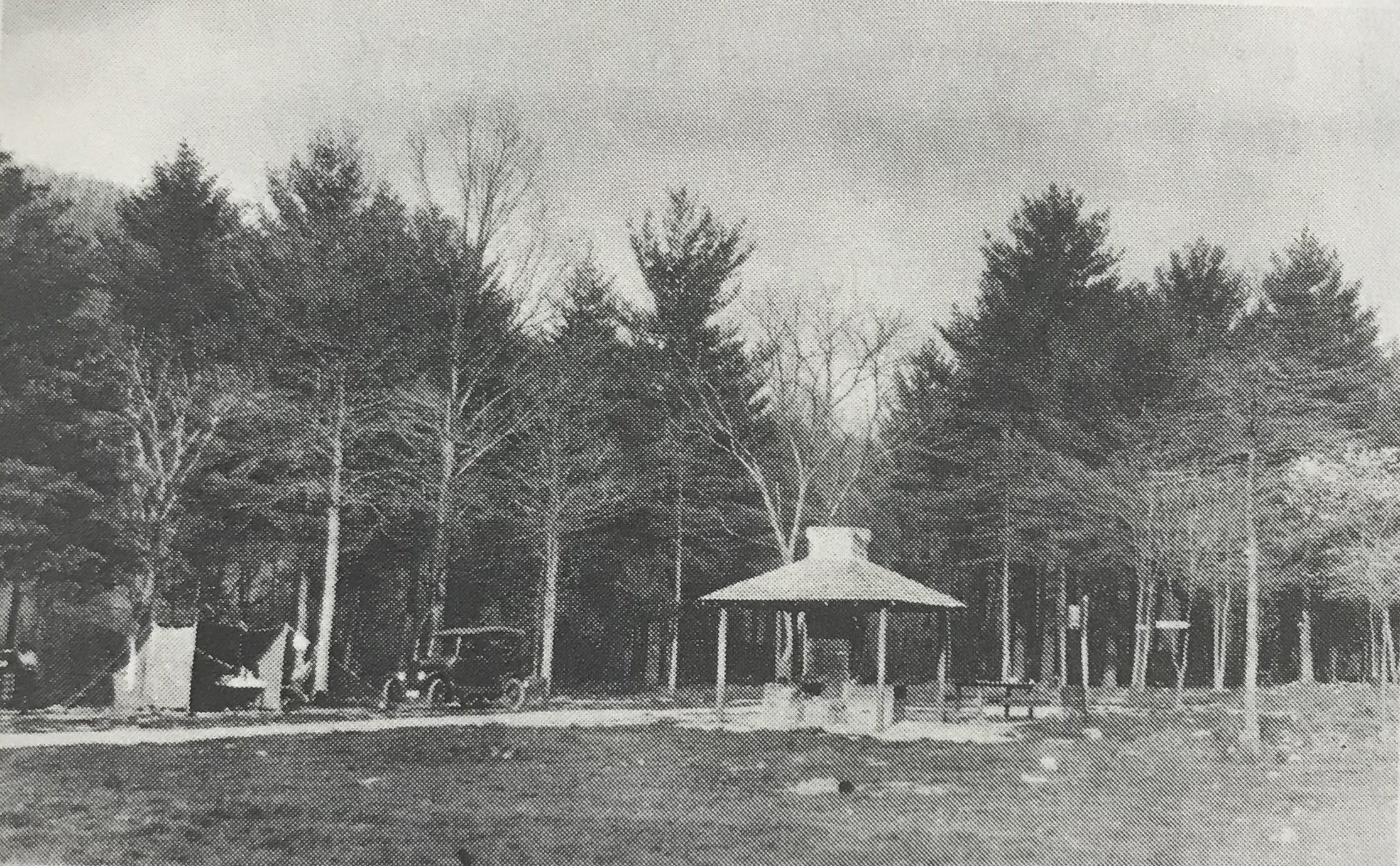 This is a picture of Caledonia State Forest Park's public campground, taken in May of 1924 (Lincoln Highway Experience).