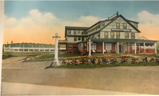 The Original Mountain View Inn, colorized with pasture