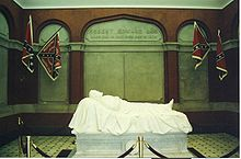 "The ""recumbent statue"" of Robert E. Lee lying asleep on the battlefield - sculpted by Edward V. Valentine"