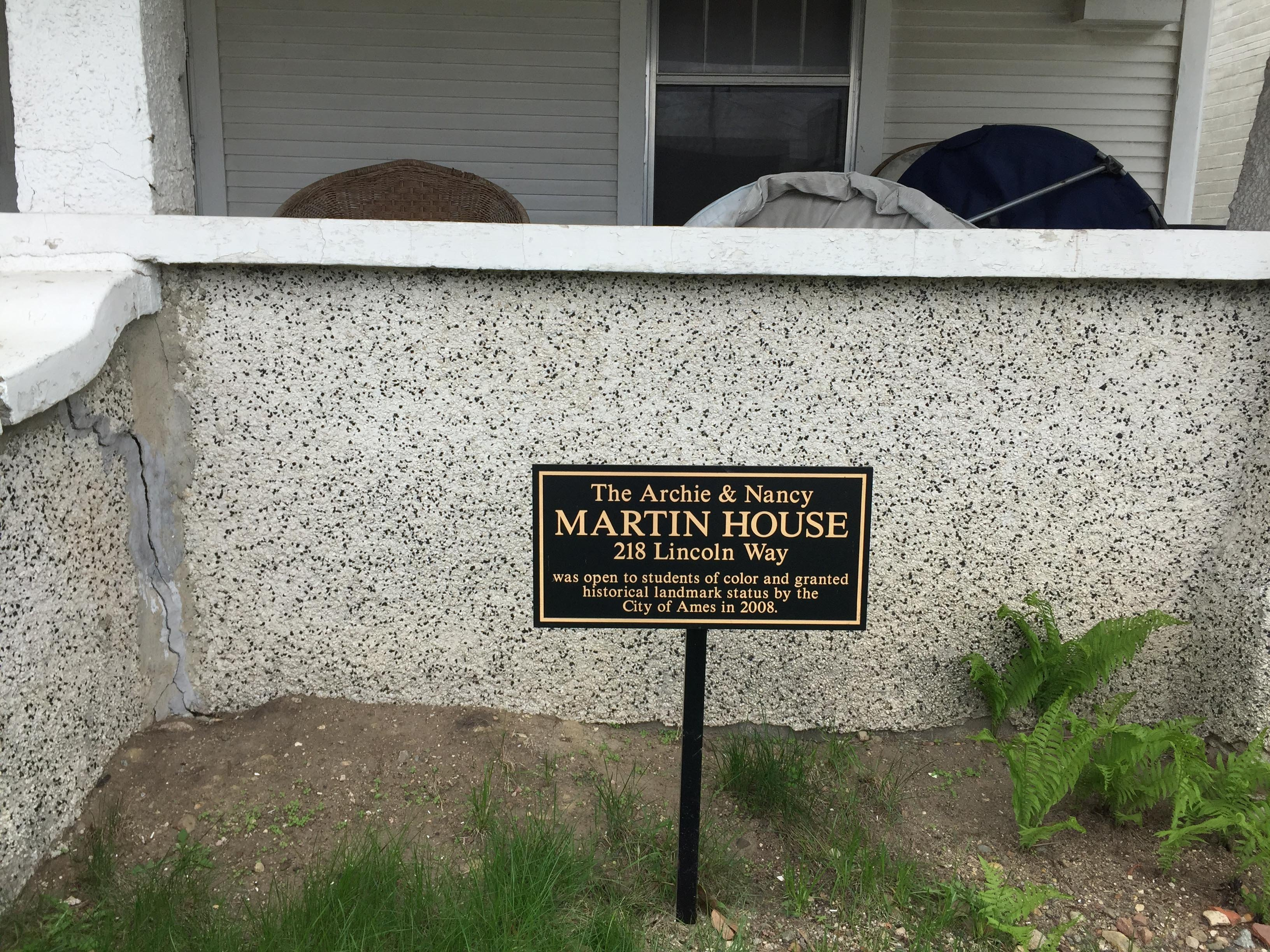 Martin House, detail showing City of Ames historical plaque.