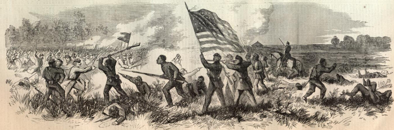 Engraving that depicts Union African American soldiers fighting in the battle