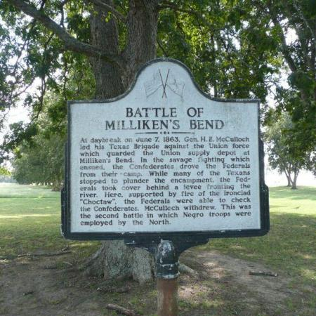 This Historical Marker for the Battle of Milliken's Bend is on Thomastown Road