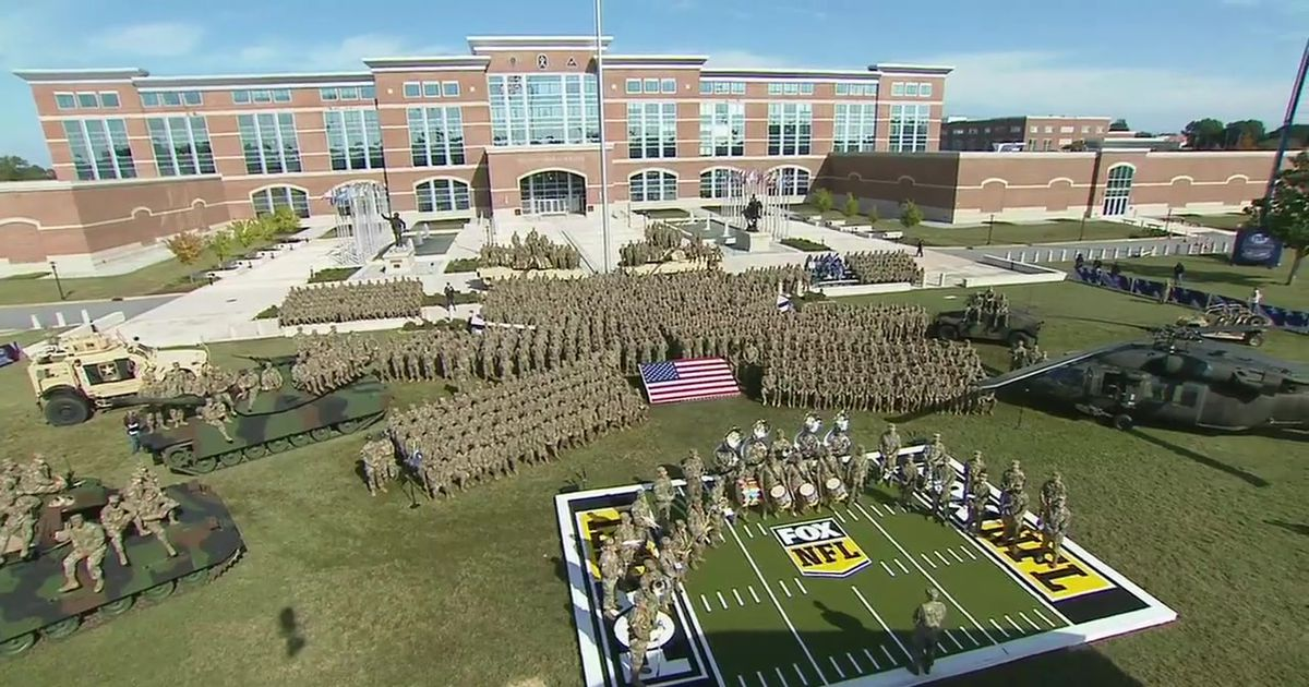 An aerial view of the NFL on FOX crew commemorating Fort Benning, Georgia on Veteran's Day 2018.