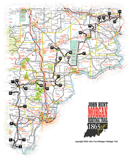 This image is the driving map of the John Hunt Morgan Heritage Trail. The Heritage Trail has a total of 27 markers and goes through six counties in southeastern Indiana.