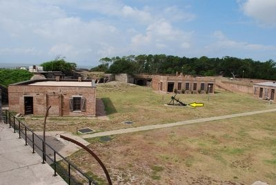 This picture shows where the anchor is at in relation to some of the buildings at Fort Gaines.