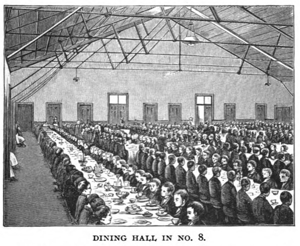 1888 illustration of Lafayette's dining hall.