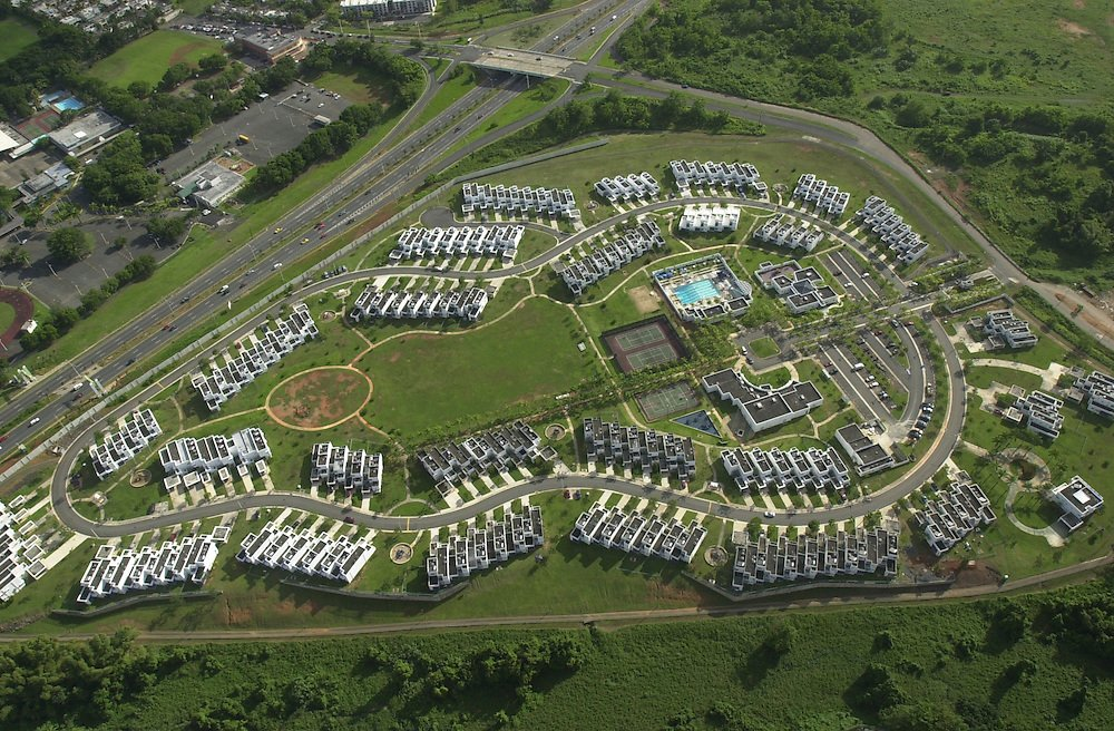 An aerial view of Fort Buchanan's housing area.