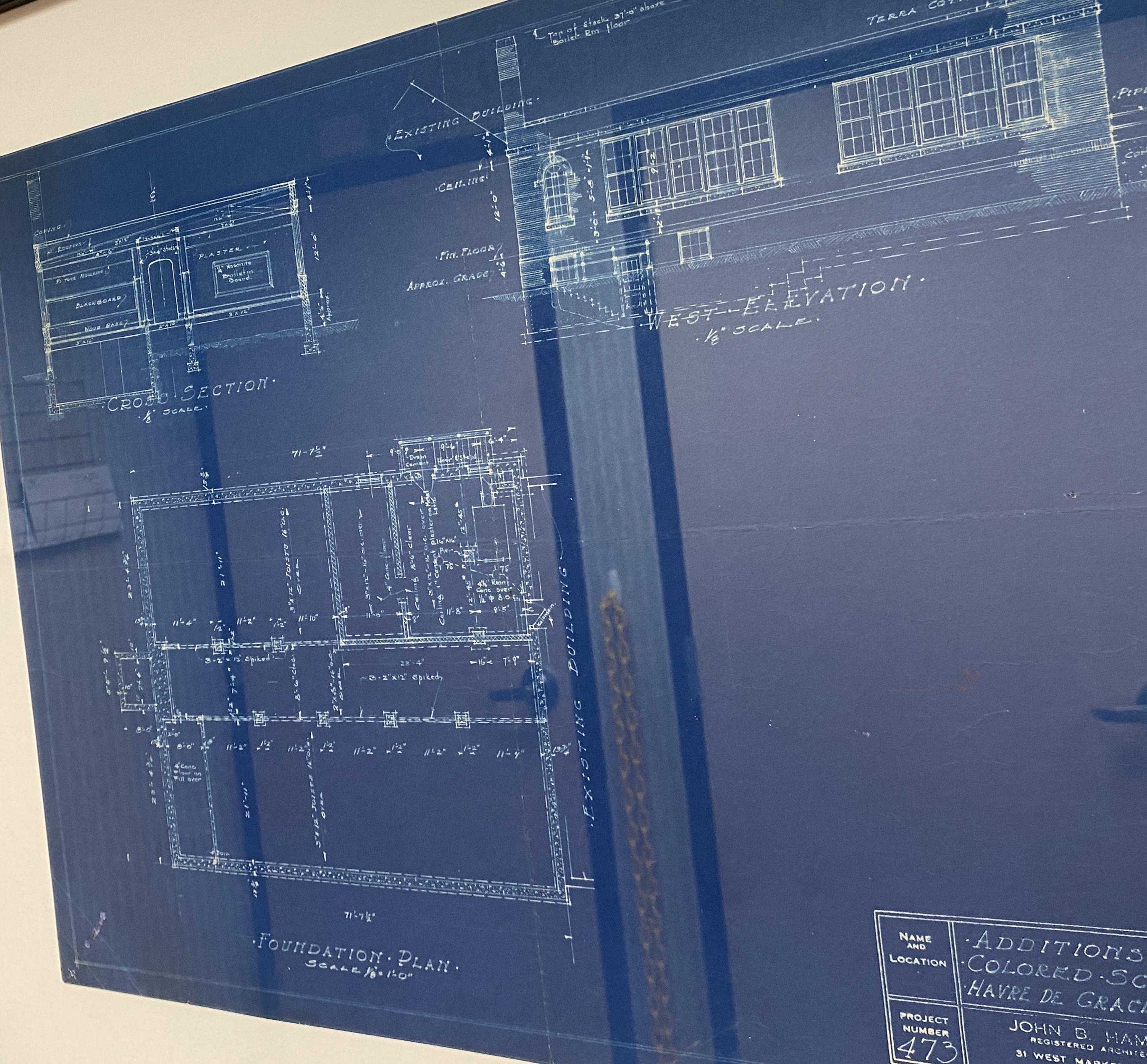 Blueprint for the original design of the Havre de Grace Colored School