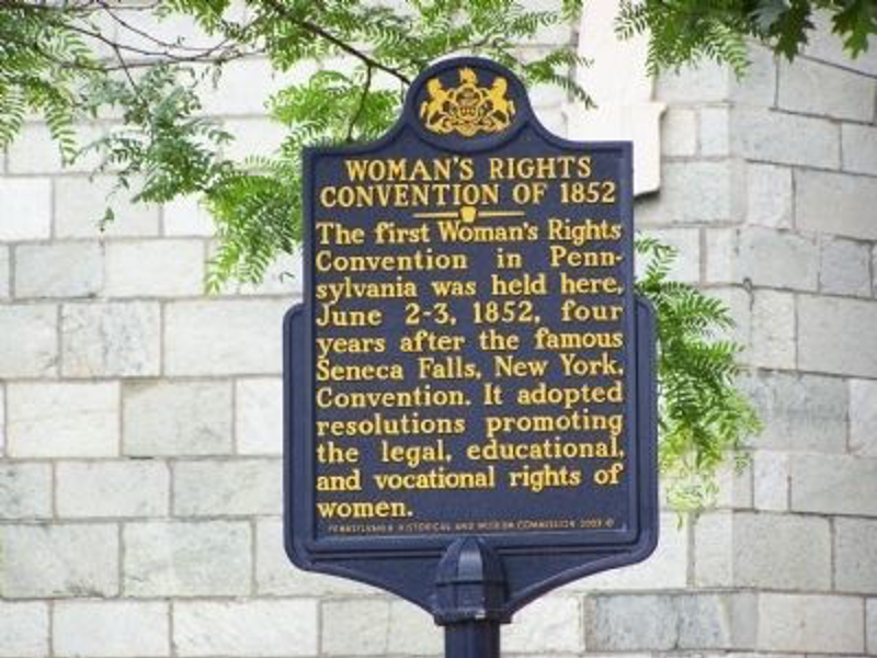 The Woman's Rights Convention of 1852 marker is located outside the Chester County Historical Society.