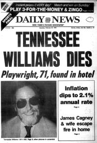 News of Tennessee Williams's death