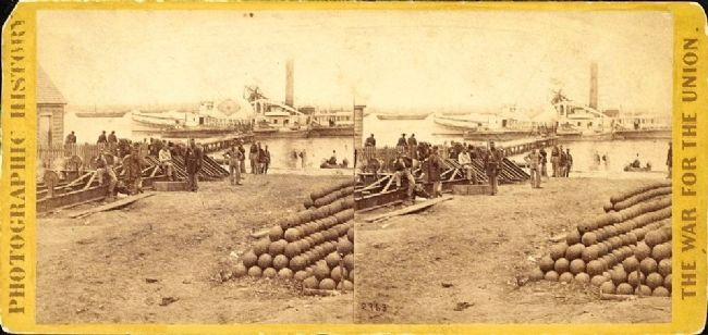 Union soldiers loading cannon balls for shippment from Yorktown to another location within Virginia.