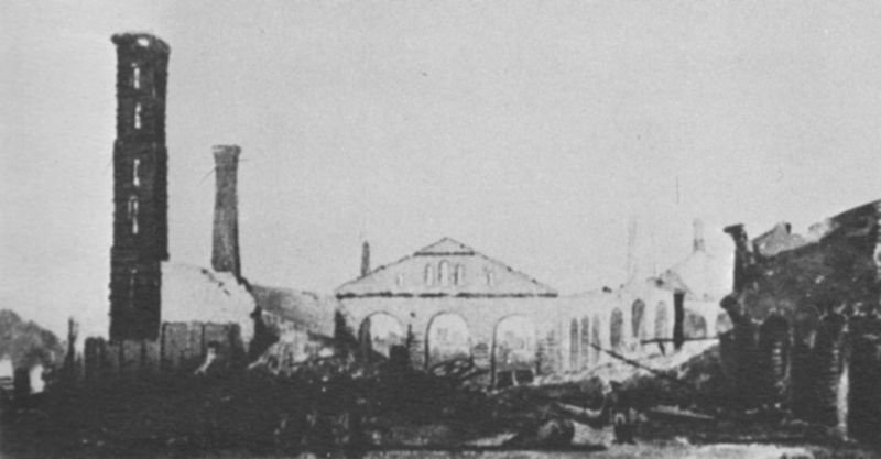 A picture of the Selma Naval Foundry after Forrest's defeat. While in operation, the foundry produced guns, ammunition, and plate steel (for building ships) for the Confederate Army.