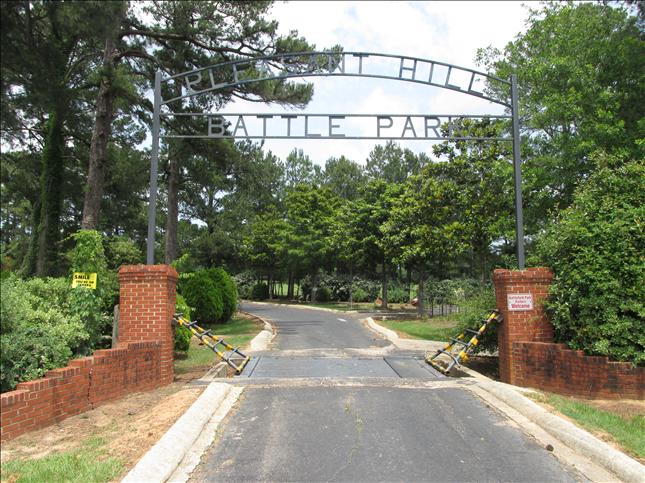 Entrance to the Pleasant Hill Battle Park located near where the actual battle occurred.