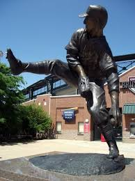 Statue of pitcher Warren Spahn outside of Chickasaw Bricktown Ballpark.