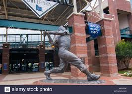 Statue of Mickey Mantle outside of Chickasaw Bricktown Ballpark.