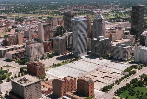 Downtown Oklahoma City before the MAPS project.