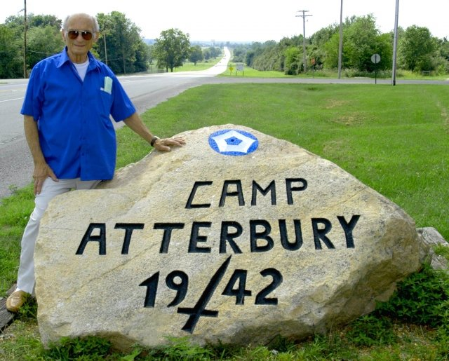 Camp Atterbury's well known rock dates back to WWII. POW legacy stone left behind for generations to come. Libero Puccini is the individual present in the photograph.