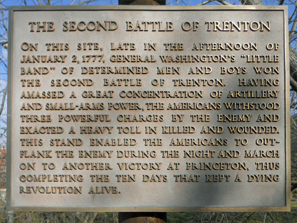 A monument set in place with a brief summary of the heroics that took place during this battle.