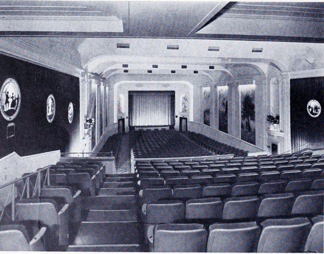 The Auditorium of the Avon circa 1939, with Murals and Portraits of Historical Figures Visible, Courtesy of CinemaTreasures.Org Creative Commons