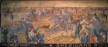 """An image of """"Sheridan's Ride,"""" which depicts General Phil Sheridan of Vermont rallying his men during the Battle of Cedar Creek, VA during the Civil War."""