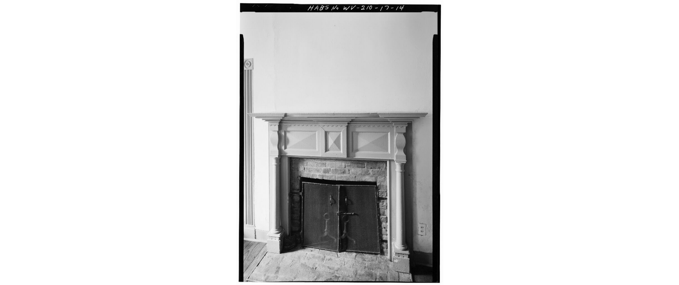 Original fireplace on the house's first floor, circa 1980