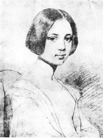 A sketch of Elmira Royster Shelton in her youth.