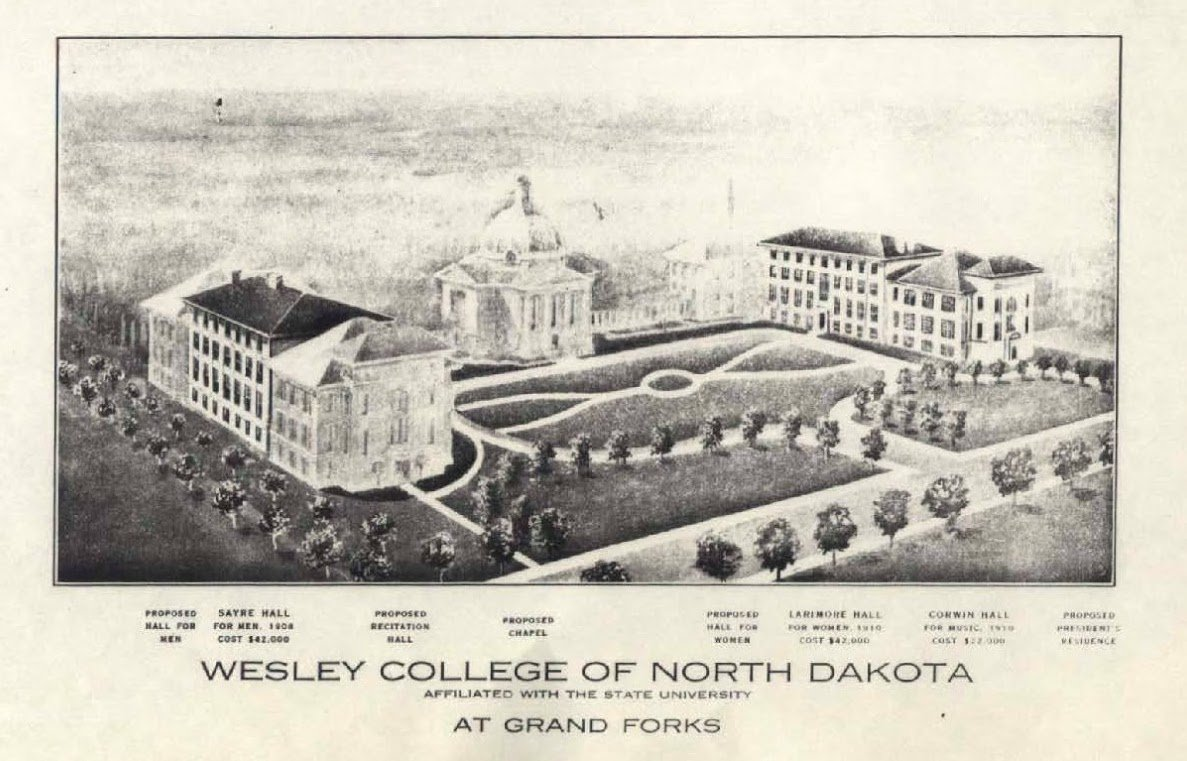 1909 artist sketch of what Wesley College was planned to look. The buildings drawn in a shadowy white were buildings proposed to be built. Photo courtesy of Elwyn B. Robinson Department of Special Collections UAP
