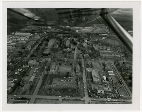 Aerial photograph picturing the campus of the University of North Dakota. Photo courtesy of Elwyn B. Robinson Department of Special Collections. UAP