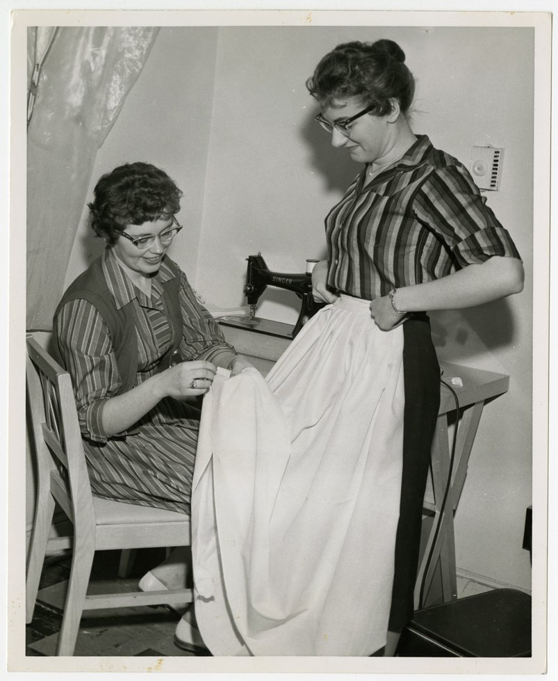 Larimore students showcasing dorm life of Wesley College. Photo courtesy of Elwyn B. Robinson Department of Special Collections, University of North Dakota. UAP28946.