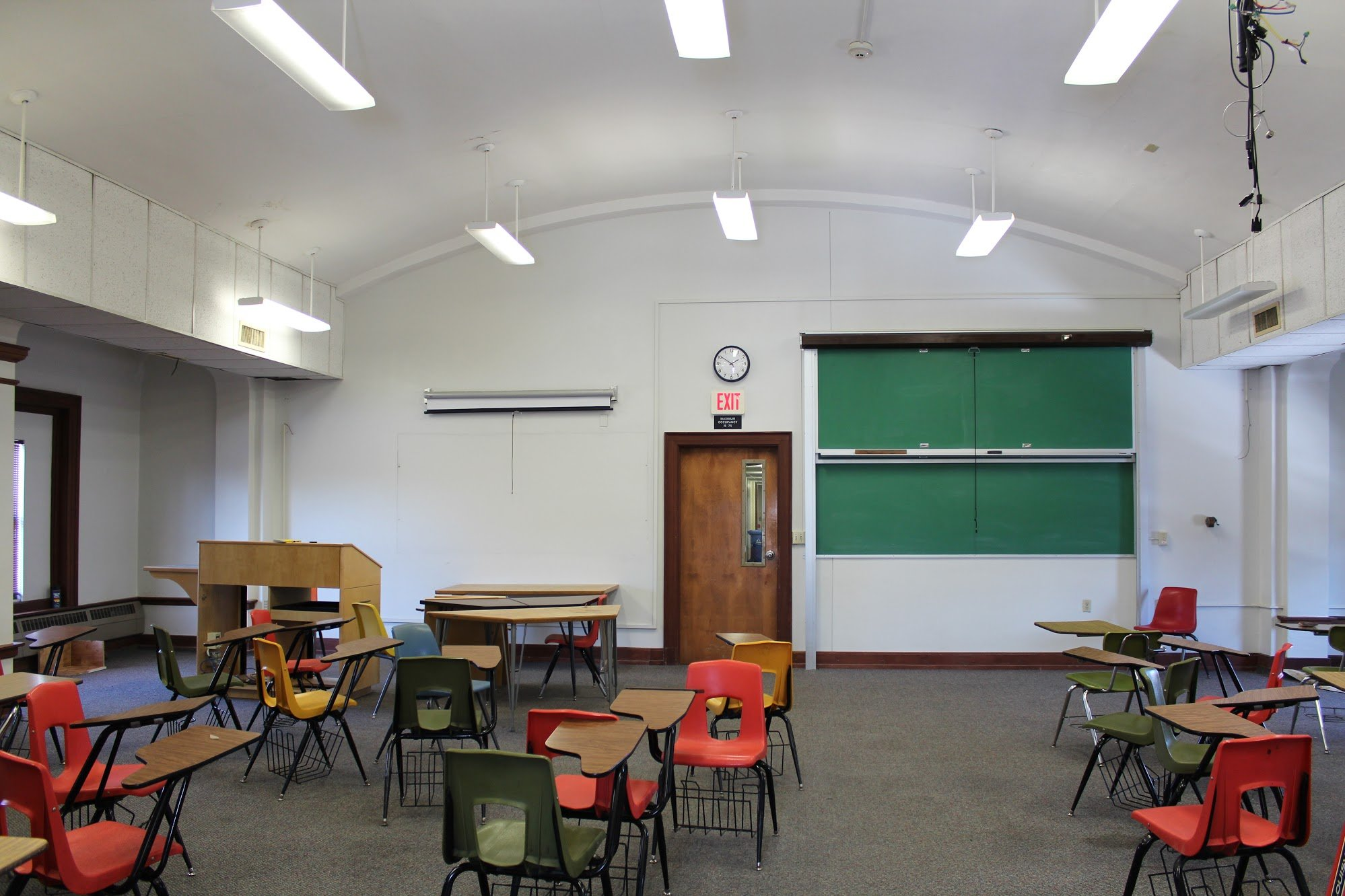 Photograph of the music recital room (2018). Unfortunately, there are no images of the recital room before immense changes reshaped the space for classroom use. Photo courtesy of Dr. William Caraher.
