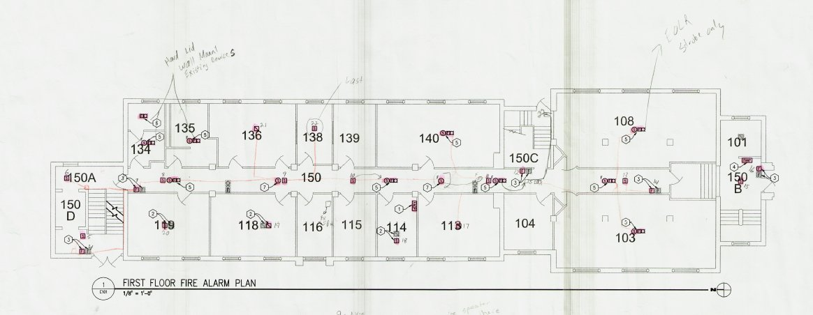 Fire alarm plans of Corwin-Larimore first floor.
