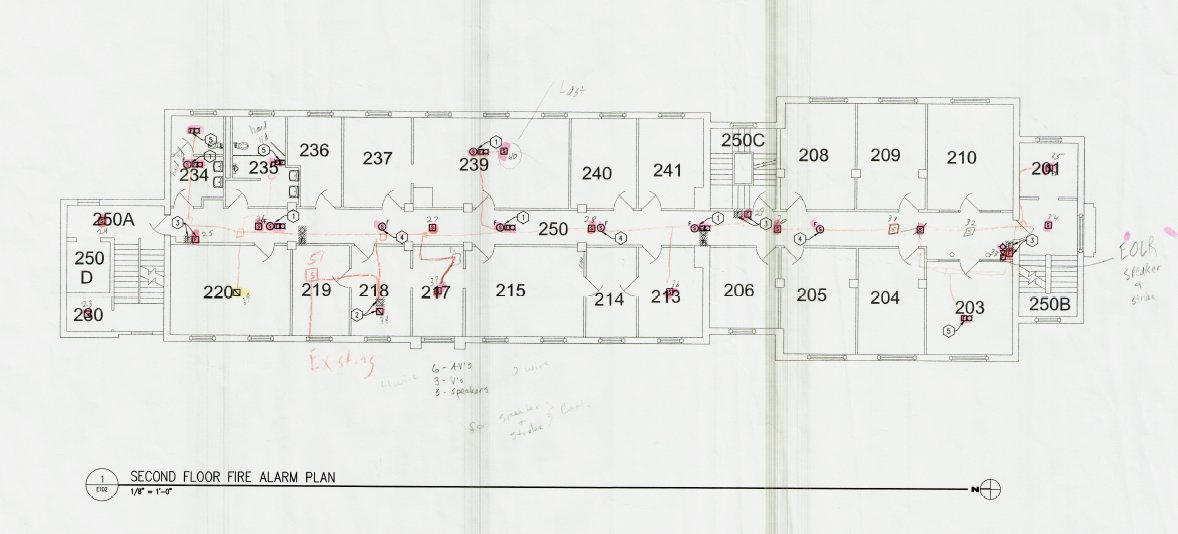 Fire alarm plans of Corwin-Larimore second floor.