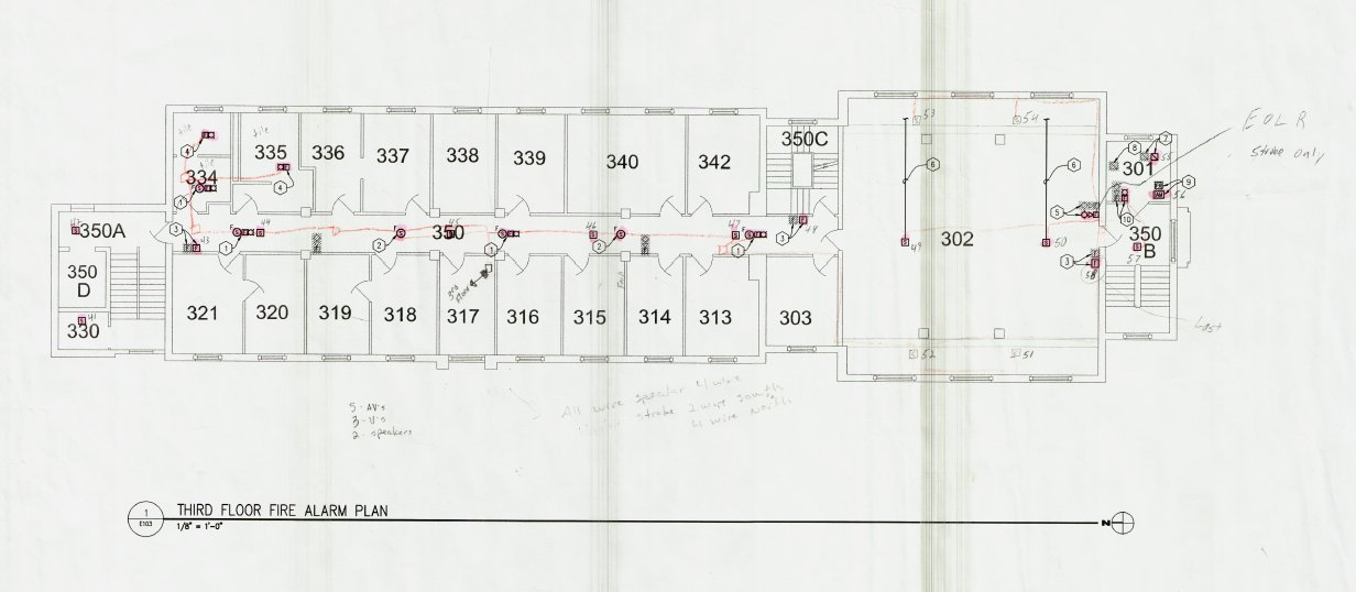 Fire alarm plans of Corwin-Larimore third floor including the large room on the right-hand side where the music hall was located.