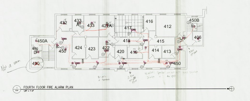 Fire alarm plans of Corwin-Larimore fourth floor which housed the Psychology department's research spaces.