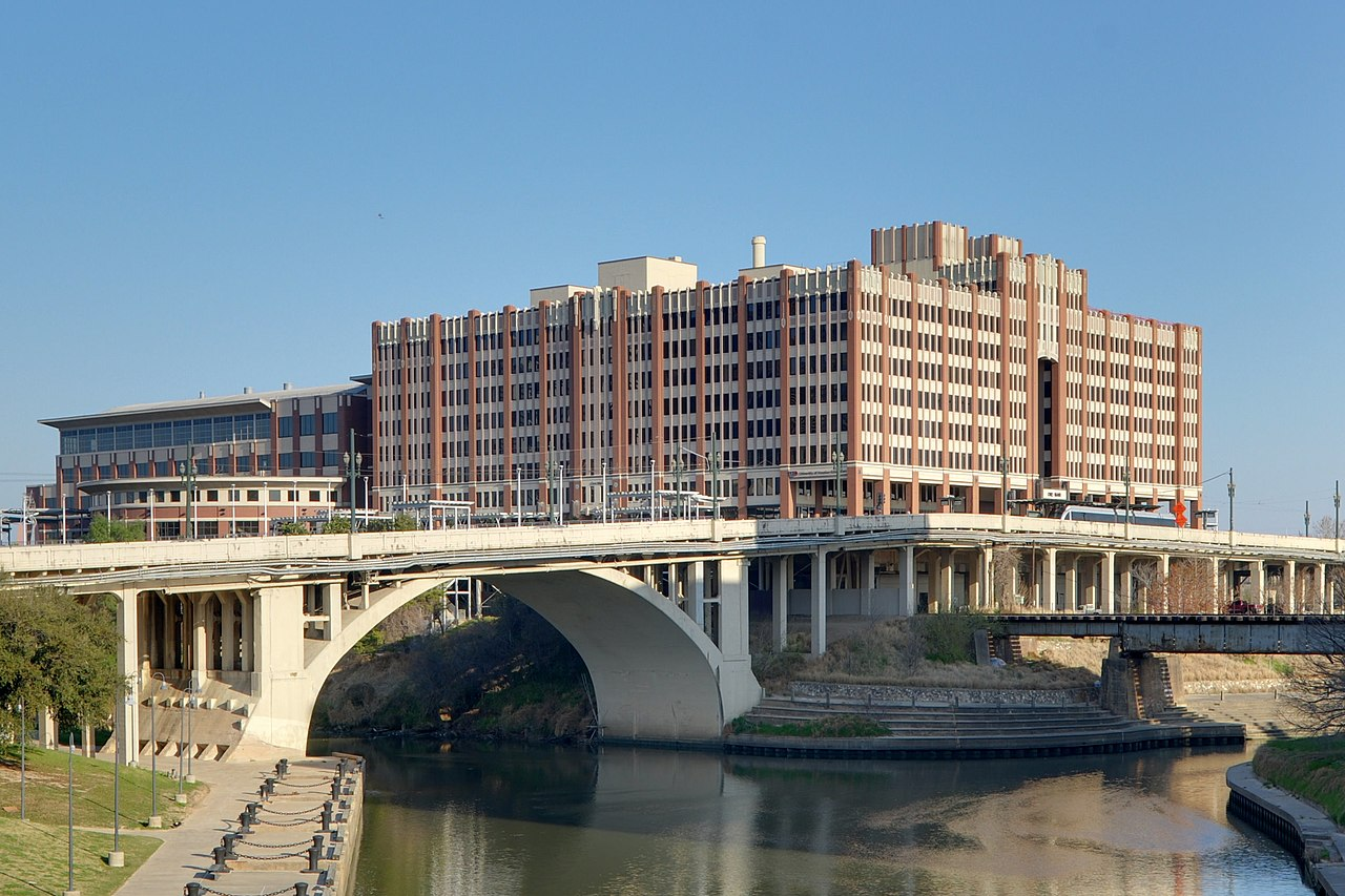 The University of Houston-Downtown has owned the former M&M Building since 1974. Allen's Landing is located on the left.