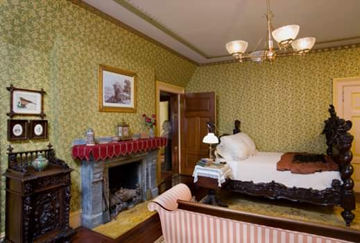 The Clemens master bedroom has been restored to better illustrate the times and the tastes of the couple.