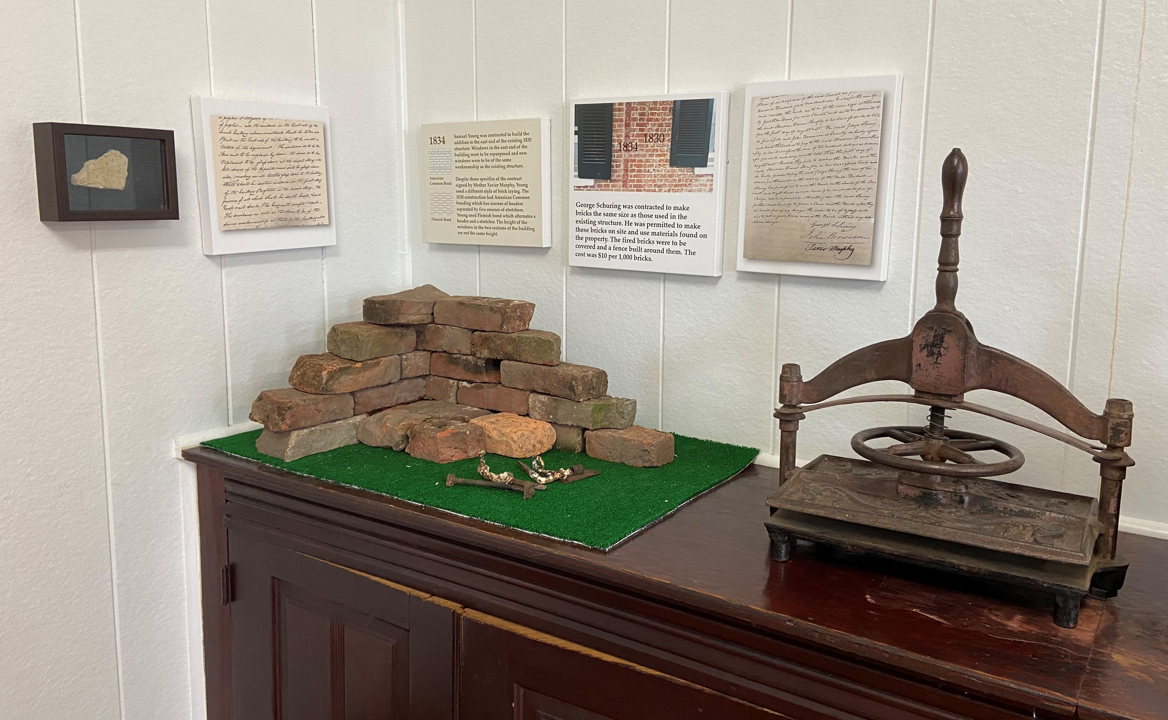 A number of the bricks used to build the main building were made on site using clay dug from a pit on the grounds.