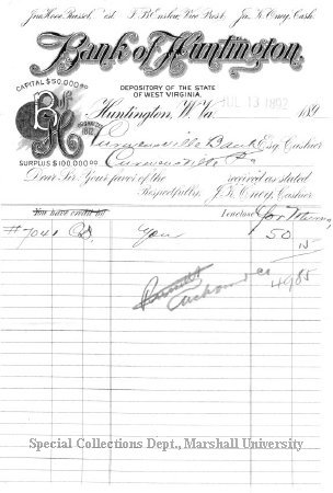 A bank transfer with Bank of Huntington, July 1892